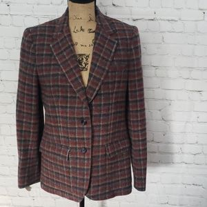 VTG 70'S THE VILLAGER WOOL PLAID FITTED BLAZER